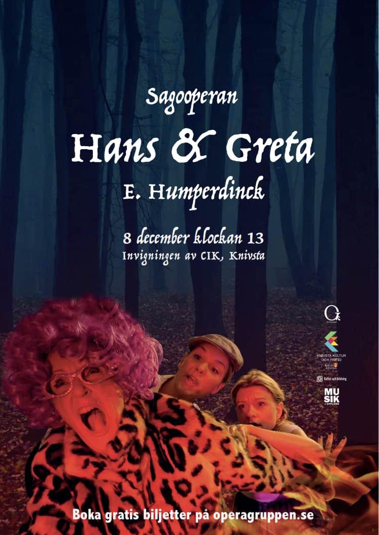 Affisch på sagooperan Hans och Greta producerad av Operagruppen