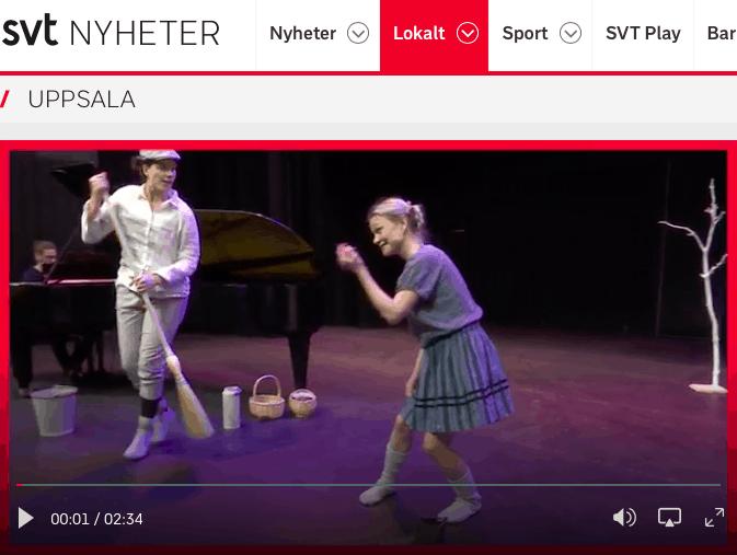 Inslag på SVT om CIK och Scenkonsthallen i Knivsta. Med på inslaget finns operan Hans och Greta som framförs under invigningshelgen. Petra Valman gör rollen Greta.