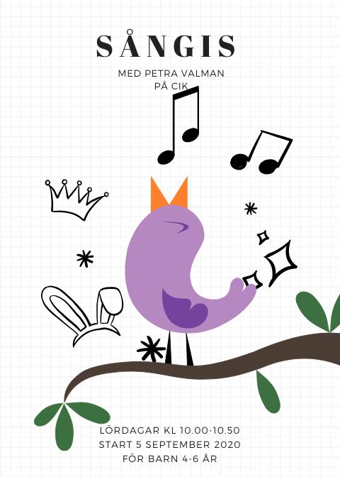 Affisch där det står sångis med Petra Valman på CIK. Lördagar kl 10.00-10.50. Start 5 september 2020 för barn 4-6 år