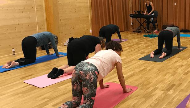 Människor som står på yogamattor på alla fyra och gör röstövningar