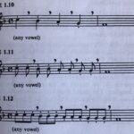 Bild på noter med tre sångövningar