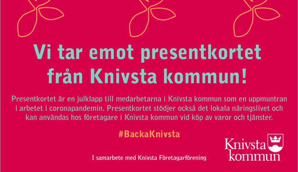Aktuellt! Bild med texten Vi tar emot presentkortet från Knivsta kommun. För presentkortet kan en få en sånglektion för Knivstaföretagaren Petra Valman