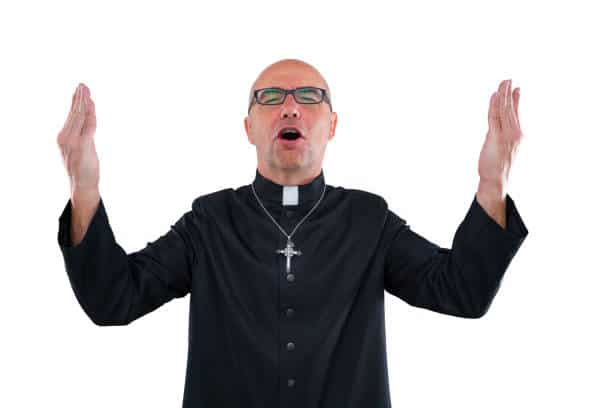 Priest blessing open hands singing shout with cassock isolated on white